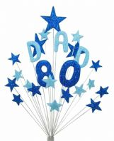 Dad 80th birthday cake topper decoration in shades of blue - free postage